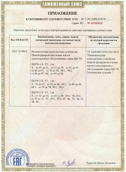 Сертификат приложение регламента на ЩО70