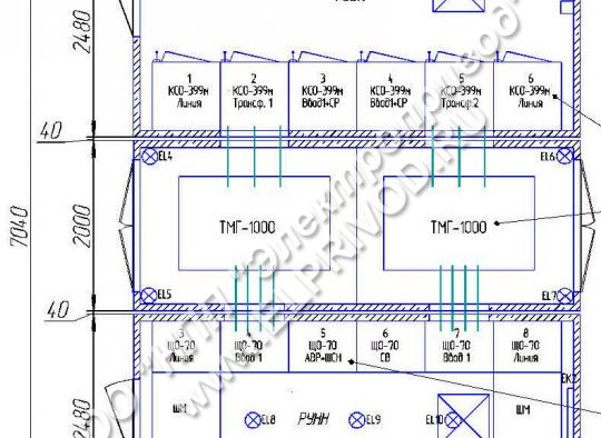 Расположение оборудования в бетонной подстанции