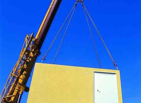 Крановые работы по установке бетонных блоков подстанции